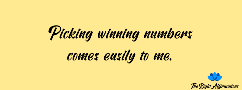Picking winning numbers comes easily to me.