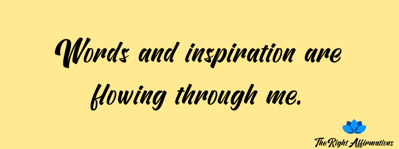 Words and inspiration are flowing through me.