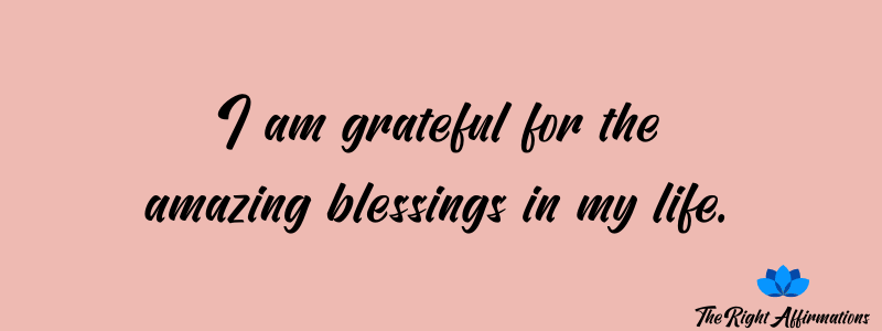 I am grateful for the amazing blessings in my life.